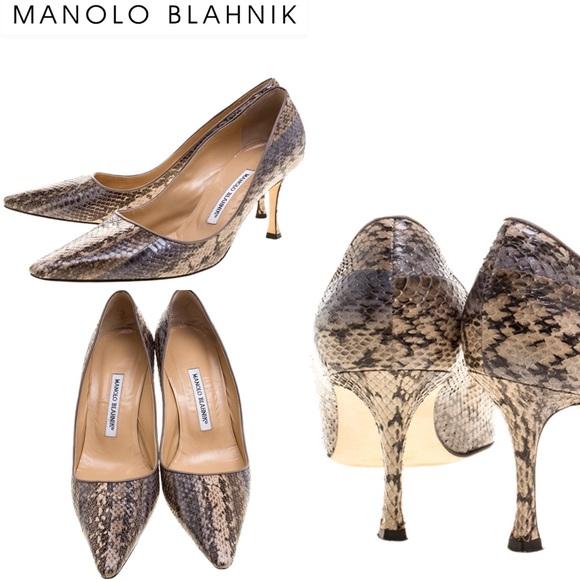 Manolo Blahnik Shoes - SALE! 💕 Manolo Blahnik Beige Snakeskin Pumps 💕